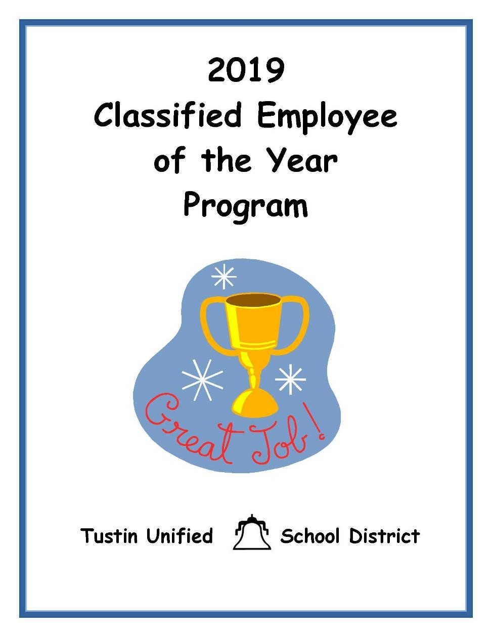 2019 Classified Employee of the Year with Award Graphic and TUSD Logo