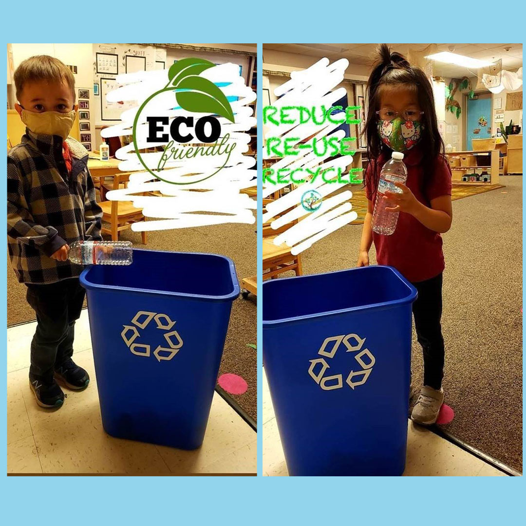 Two kindergarten students recycling plastic