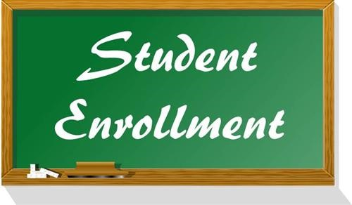 Words Student Enrollment Written on Chalkboard