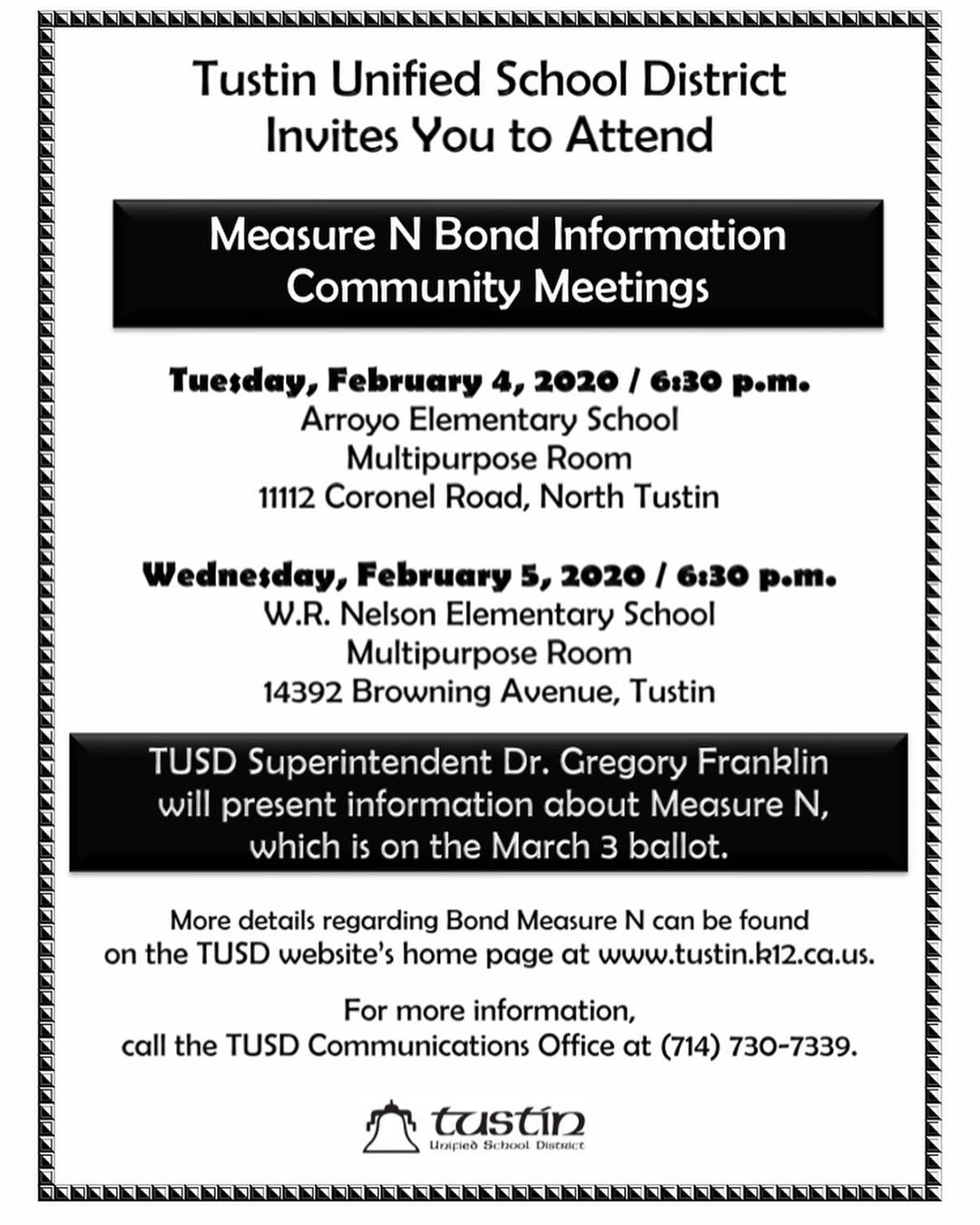 Measure N Community Meeting, Tuesday Feb 4 at 6:30 p.m. At Arroyo Elementary  and Wednesday Feb 5 at 630 at Nelson Elementary