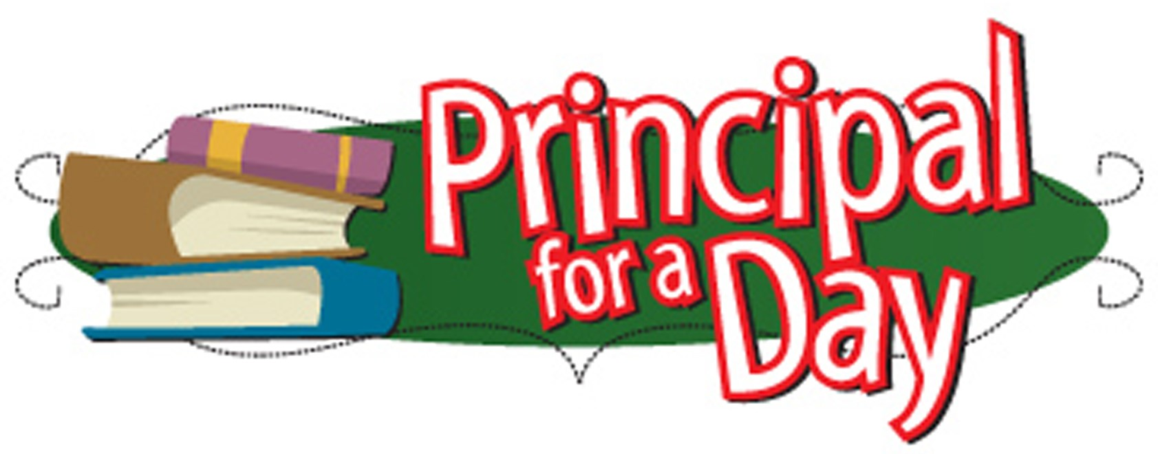 Principal for a Day with books graphic