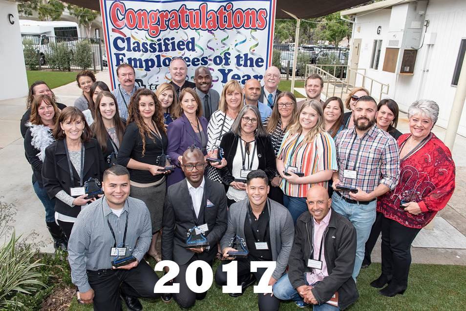 Group photo fo the 2017 Classifed Employees of the Year at the Courtyard Celebration