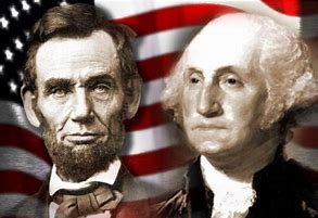 Abraham Lincoln and George Washington against a US flag background