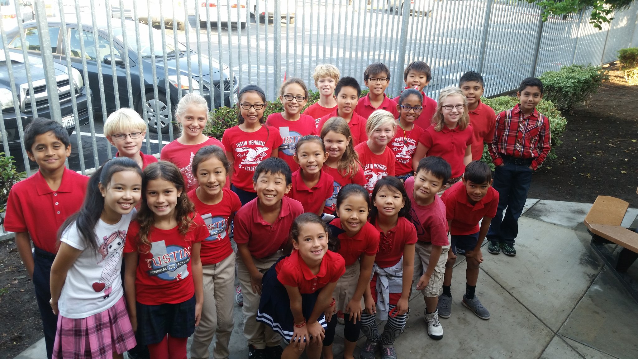 Group of TMA students wearing red shirts for Red Ribbon Week
