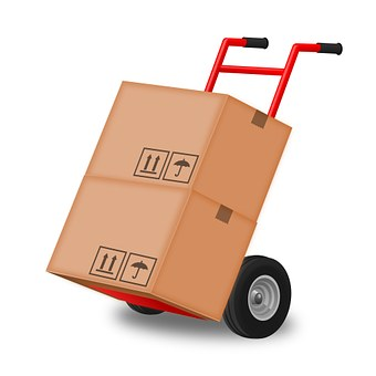 hand truck with moving boxes