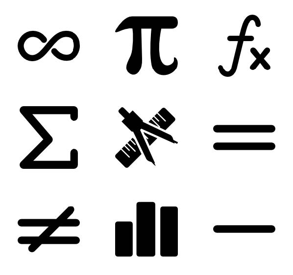 Photo of different math symbols