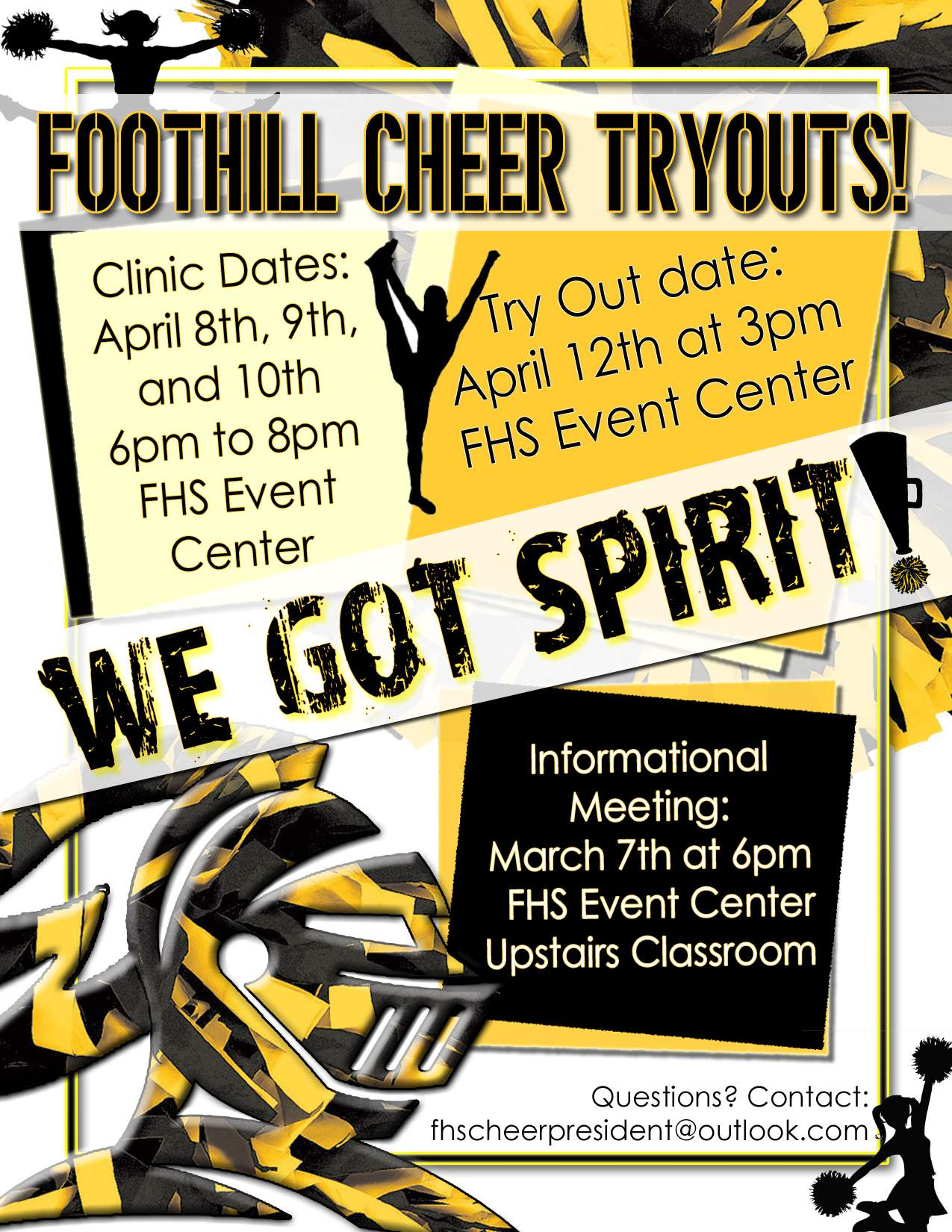 Cheer Tryout flyer for 2019