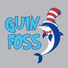Guin Foss Logo with a dolphin and a striped hat