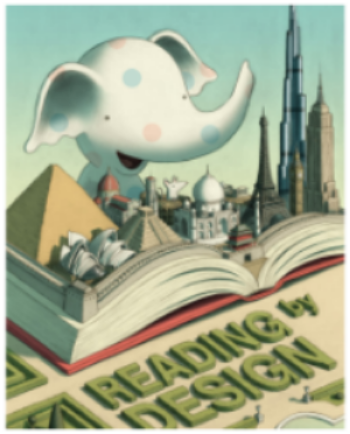 "Photo of a baby elephant reading a book. Book displays pop up figures which represent towers and buildings from all over the world. Image text: ""Reading by Design"""