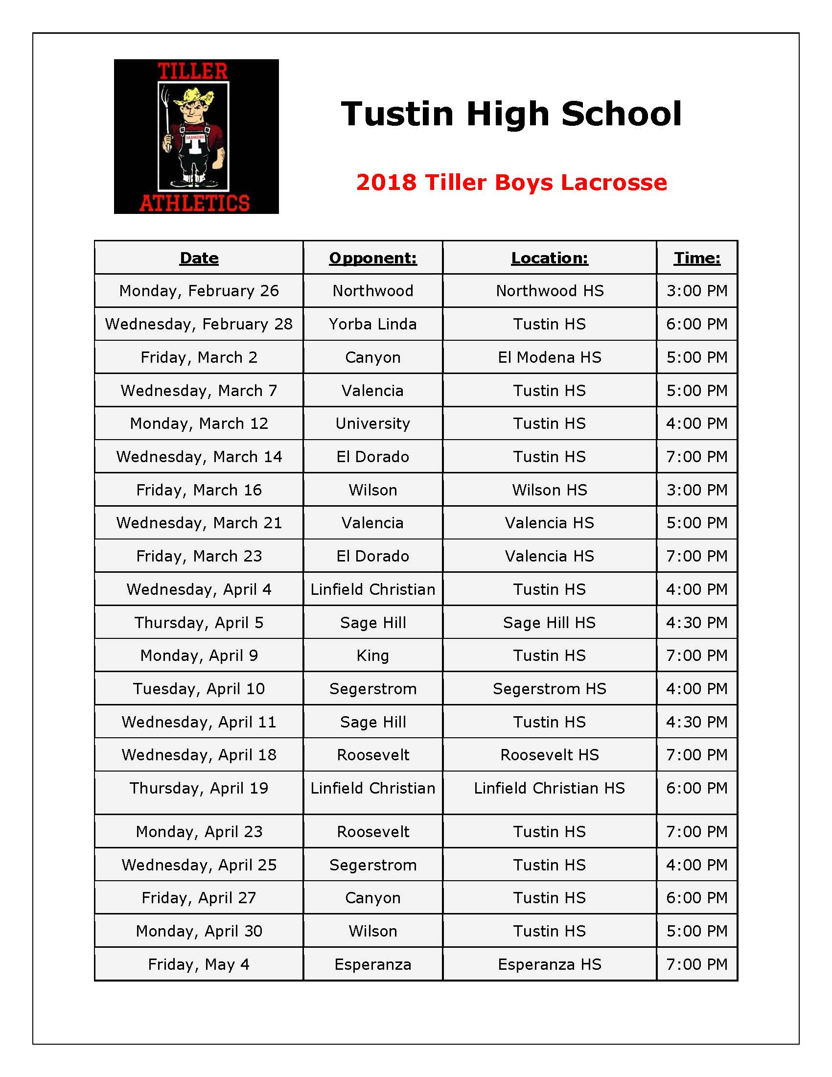 preview Boys' Lacrosse schedule