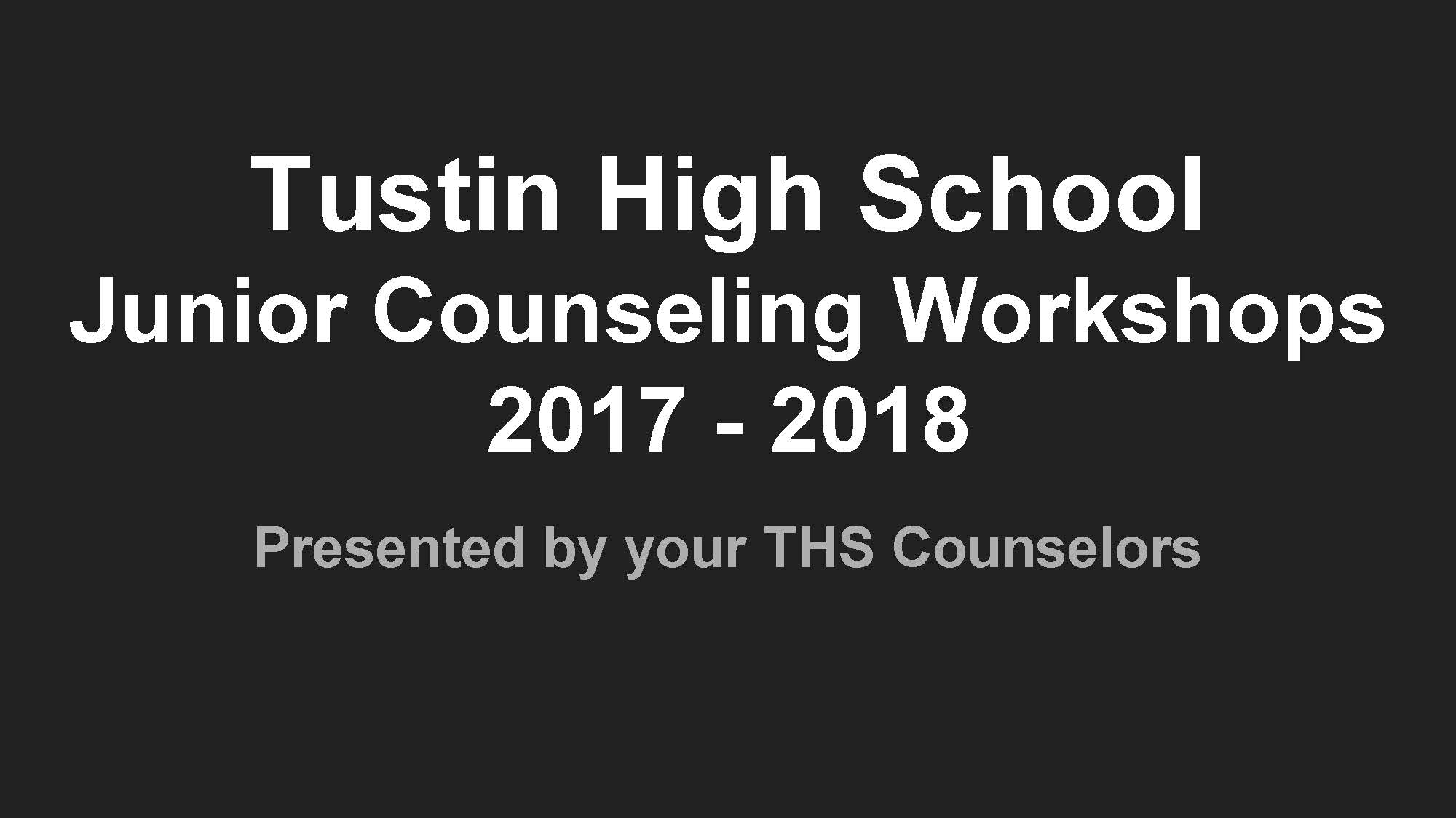 Junior Counseling Workshop Preview