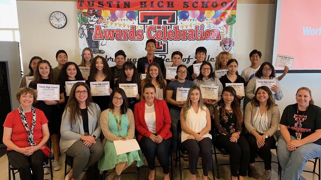 World Languages award recipients and their teachers