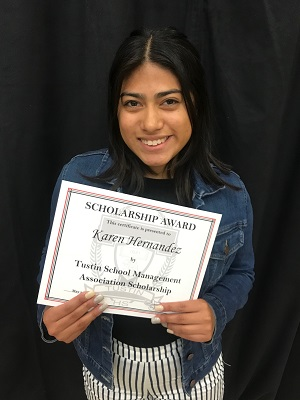2018 Tustin School Management Association Scholarship recipient