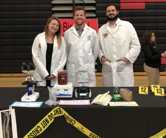 THS BioMedical Science teachers at a recruitment table