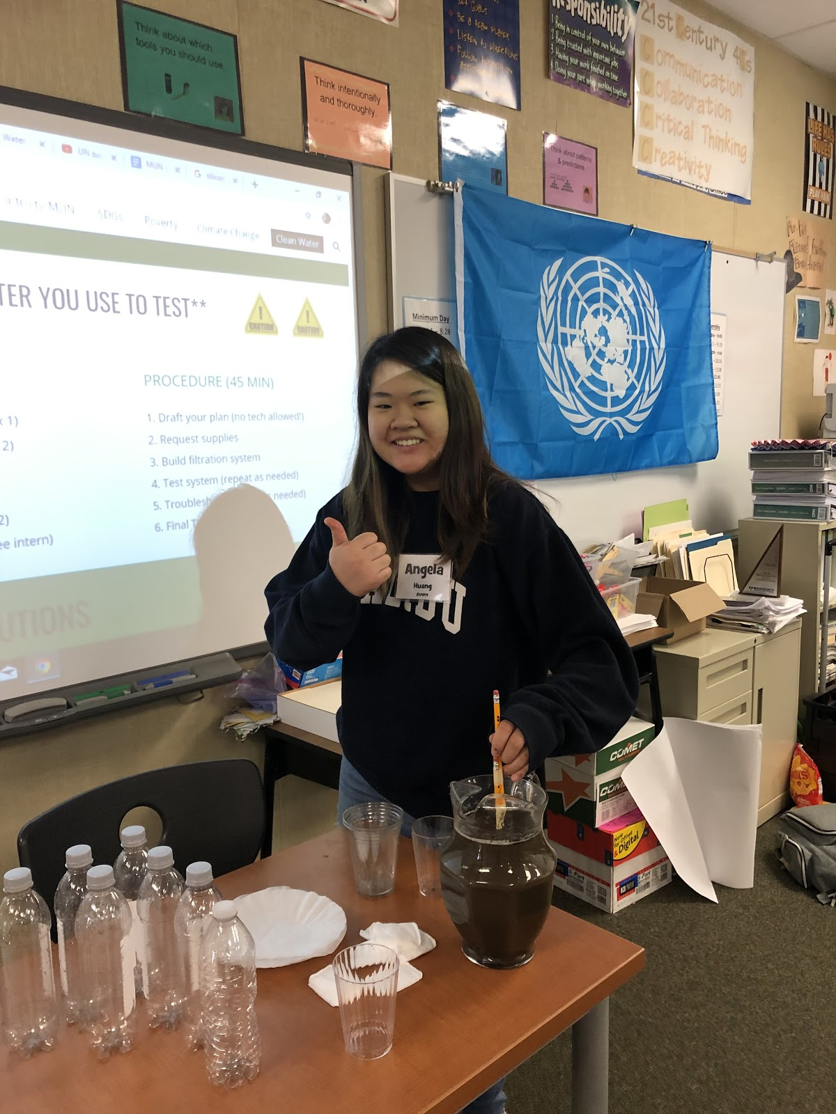 Angela Huang in MUN working on a water project