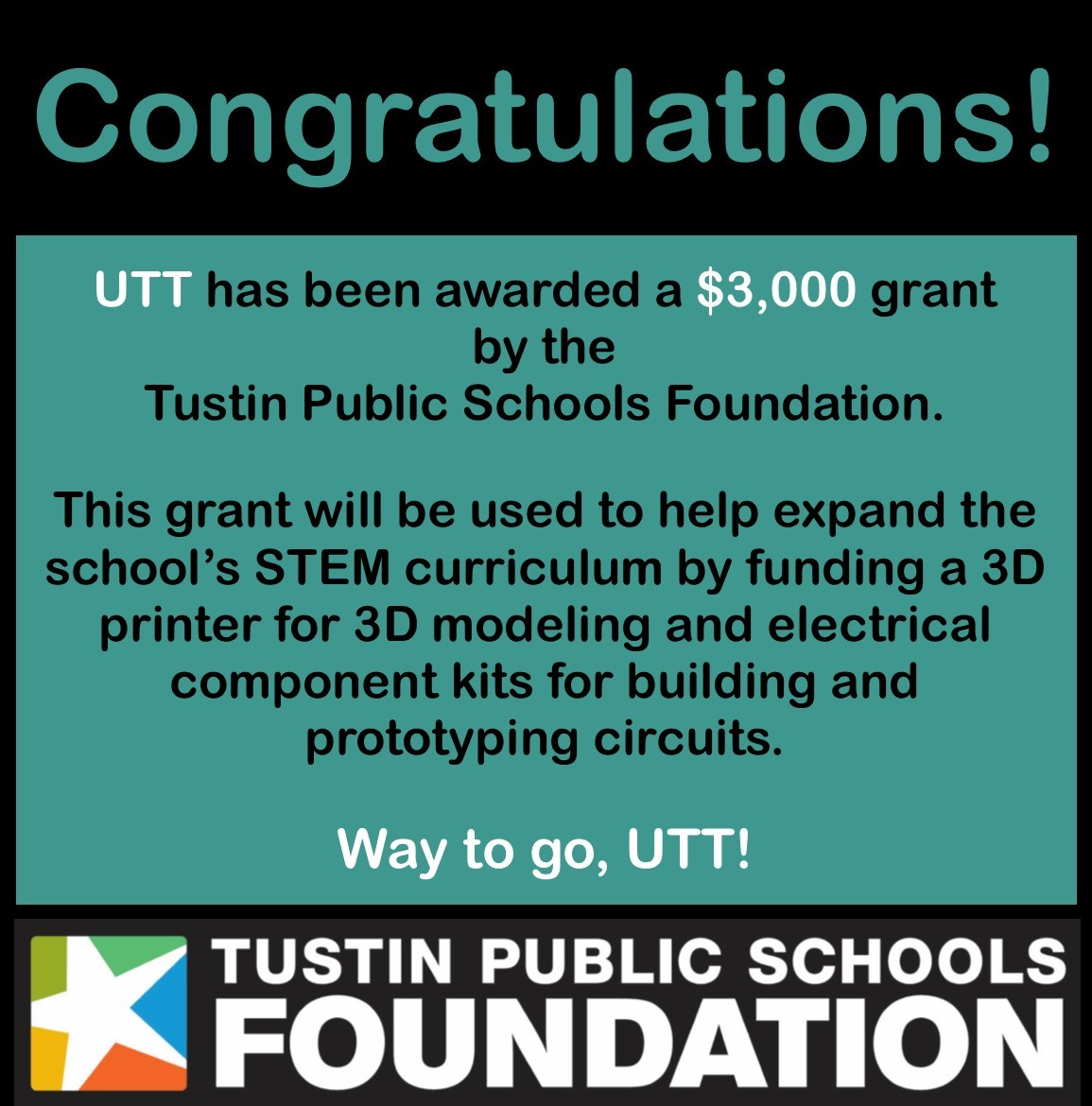 Utt has been awarded a $3,000 grant by the Tustin Public Schools Foundation