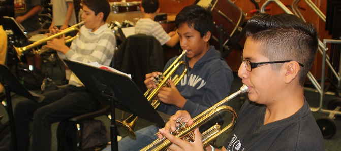 photo of students in music class